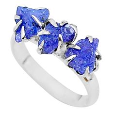 7.66cts solitaire natural blue tanzanite raw fancy silver ring size 8 t17224