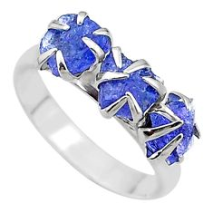 6.67cts solitaire natural blue tanzanite raw fancy silver ring size 8 t17233