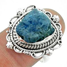 7.83cts solitaire natural blue tanzanite rough fancy silver ring size 8 t55565