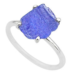 5.51cts solitaire natural blue tanzanite raw fancy silver ring size 8 t6830
