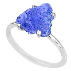 4.98cts solitaire natural blue tanzanite raw fancy silver ring size 8 t6847