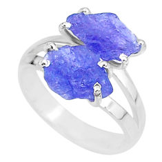 8.46cts solitaire natural blue tanzanite raw fancy silver ring size 8 t6938