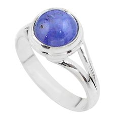 4.87cts solitaire natural blue tanzanite round 925 silver ring size 8.5 t44708