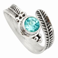 0.98cts solitaire natural blue topaz 925 silver adjustable ring size 6 r40767