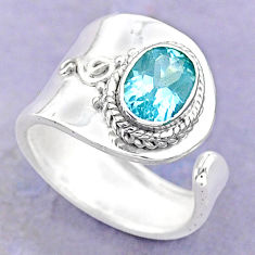 2.01cts solitaire natural blue topaz 925 silver adjustable ring size 6 t32195