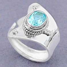 2.07cts solitaire natural blue topaz 925 silver adjustable ring size 7.5 t8500