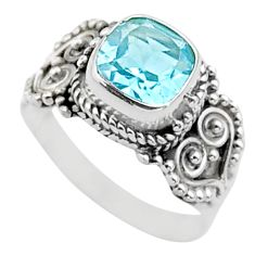 2.57cts solitaire natural blue topaz 925 silver boho ring size 7 t37826