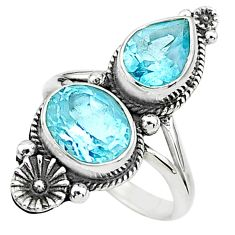 7.00cts solitaire natural blue topaz 925 silver flower ring size 8.5 t6423