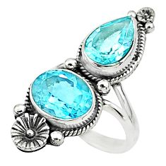 6.46cts solitaire natural blue topaz 925 silver flower ring size 5.5 t6425