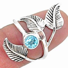 0.87cts solitaire natural blue topaz 925 silver leaf charm ring size 5 t6361