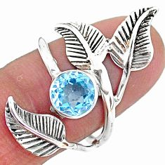 2.41cts solitaire natural blue topaz 925 silver leaf charm ring size 7.5 t6362