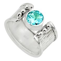 2.52cts solitaire natural blue topaz 925 silver ring jewelry size 6.5 r49841