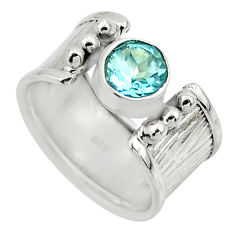 2.51cts solitaire natural blue topaz 925 silver ring jewelry size 7.5 r49850