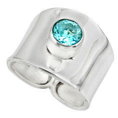 2.63cts solitaire natural blue topaz 925 silver ring jewelry size 7 r49844