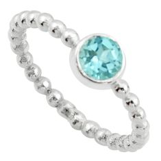 1.08cts solitaire natural blue topaz 925 sterling silver ring size 8.5 r40528