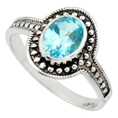 2.09cts solitaire natural blue topaz 925 sterling silver ring size 8.5 r40589