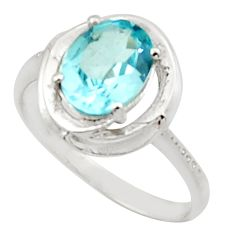 3.32cts solitaire natural blue topaz 925 sterling silver ring size 7.5 r40628