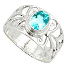 1.66cts solitaire natural blue topaz 925 sterling silver ring size 7.5 r40834