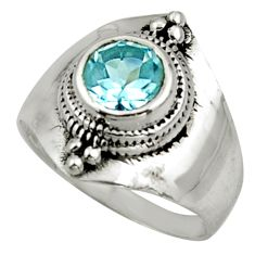 2.19cts solitaire natural blue topaz 925 sterling silver ring size 6.5 r40874
