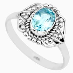 1.57cts solitaire natural blue topaz 925 sterling silver ring size 7.5 r87345