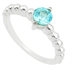0.99cts solitaire natural blue topaz 925 sterling silver ring size 6 r87226