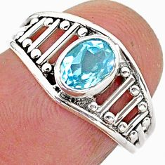 1.28cts solitaire natural blue topaz 925 sterling silver ring size 6 t40013
