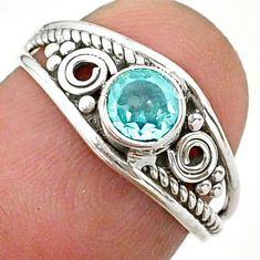 0.81cts solitaire natural blue topaz 925 sterling silver ring size 6 t40090