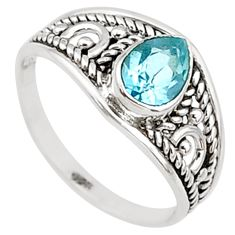 1.58cts natural blue topaz 925 silver graduation handmade ring size 6 t9251