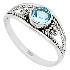 0.80cts natural blue topaz 925 silver graduation handmade ring size 6 t9315