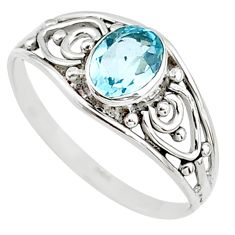 1.31cts natural blue topaz 925 silver graduation handmade ring size 6 t9385