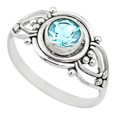 0.82cts natural blue topaz 925 silver graduation handmade ring size 6 t9633