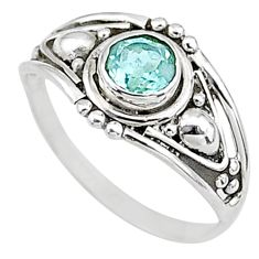 0.76cts natural blue topaz 925 silver graduation handmade ring size 6 t9661