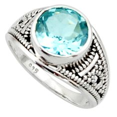 5.11cts solitaire natural blue topaz 925 sterling silver ring size 7 r40715