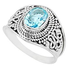 2.08cts solitaire natural blue topaz 925 sterling silver ring size 7 t10160