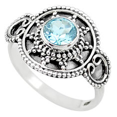 1.16cts solitaire natural blue topaz 925 sterling silver ring size 7 t19913