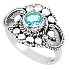 1.10cts solitaire natural blue topaz 925 sterling silver ring size 7 t19933