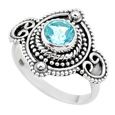 1.15cts solitaire natural blue topaz 925 sterling silver ring size 7 t20011