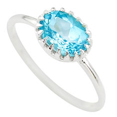 1.96cts solitaire natural blue topaz 925 sterling silver ring size 7 t22275