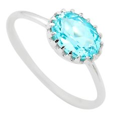 1.94cts solitaire natural blue topaz 925 sterling silver ring size 7 t22293