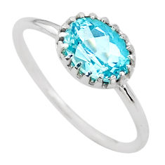 2.05cts solitaire natural blue topaz 925 sterling silver ring size 7 t22299