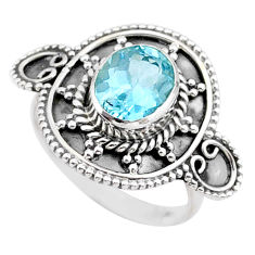3.19cts solitaire natural blue topaz 925 sterling silver ring size 7 t27342