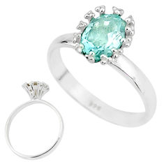 2.23cts solitaire natural blue topaz 925 sterling silver ring size 7 t7210