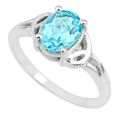 2.45cts solitaire natural blue topaz 925 sterling silver ring size 7 t9042