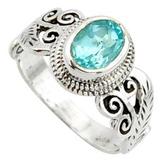 2.13cts solitaire natural blue topaz 925 sterling silver ring size 8 r40734