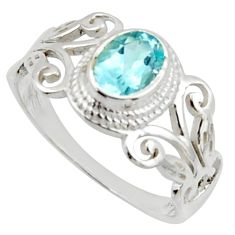 1.56cts solitaire natural blue topaz 925 sterling silver ring size 8 r40751