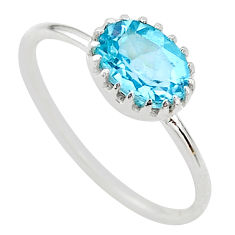 1.92cts solitaire natural blue topaz 925 sterling silver ring size 8 t22278
