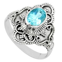 2.09cts solitaire natural blue topaz 925 sterling silver ring size 8 t30724
