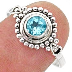 0.99cts solitaire natural blue topaz 925 sterling silver ring size 8 t40037