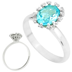 2.59cts solitaire natural blue topaz 925 sterling silver ring size 8 t7260
