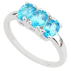 2.96cts solitaire natural blue topaz 925 sterling silver ring size 8 t7561